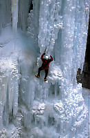 Ice Climbing the Front of Upper Johnson Falls