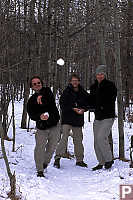 Three Throwing Snow