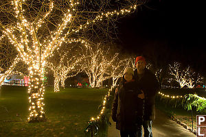 John And Helen With Lit Trees