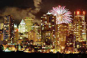 Fireworks Over Vancouver From Fairview Slopes