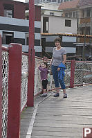 Grandma And Claira On Pedestrian Bridge