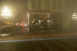 Water Street Cafe In Fog