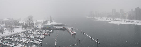 Entrance To False Creek In Snow Fog
