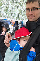 David And Loren Under Umbrella