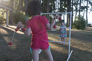 Nara And Claira Playing Toss Game