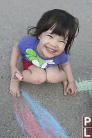 Claira With Sidewalk Chalk