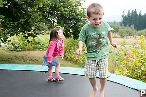 Marcus Hopping On The Trampoline