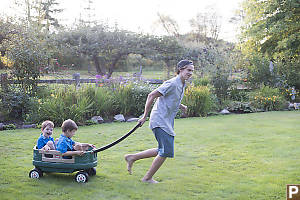 Justin Taking The Boys For A Wagon Ride