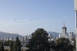 Snowbirds Weaving Over City