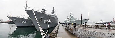 Three Destroyers At Burrard Dock In The Rain