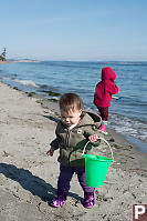 Claira With Bucket On Beach