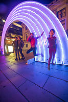 Kids Flying Under Rainbow