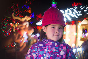 Nara With Christmas Lights Behind