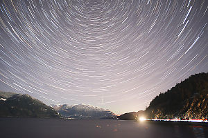 Star Trails Facing North At Porteau Cove