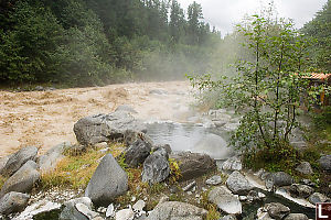 Hot Pool Next To Raging Stream