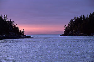 Sunset with a view of Spout Islet