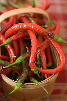 Basket Of Red And Green Peppers