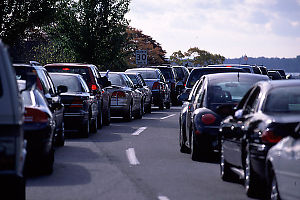Queue of Cars at Peace Arch Crossing