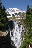 Myrtle falls In Front Of Rainier