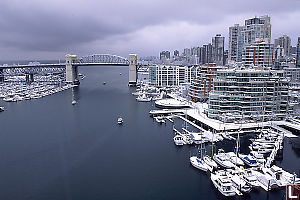 Burrard Street Bridge in Snow
