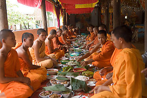 Monks Having Daily Meal