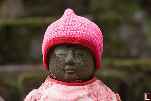 Knitted Hat On Jizo