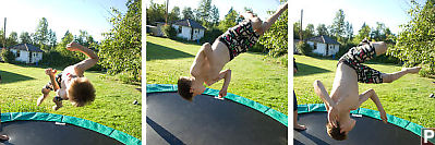 Justin Playing On Trampoline