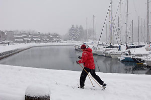 Cross Country Skier On Seawall