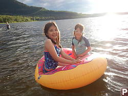 Sharing Floaty In Fraser Lake